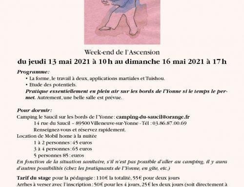 Stage à Villeneuve-sur-Yonne du 13 au 16 mai